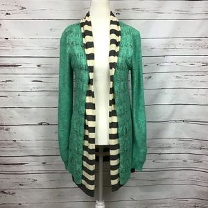 [BKE] Teal Open Front Overlay Cardigan Sweater